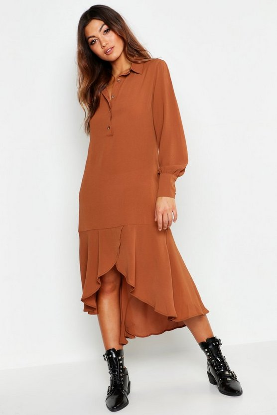 Womens Chocolate Shirt Dress Hem Ruffle Detail Midi Dress