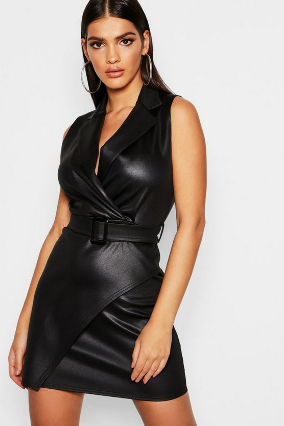 Womens Black Pu Wrap Belted Blazer Dress