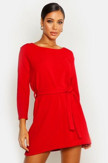 Womens Red Tie Belt Shift Dress
