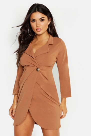 Womens Camel Button Detail Pleated Blazer Dress