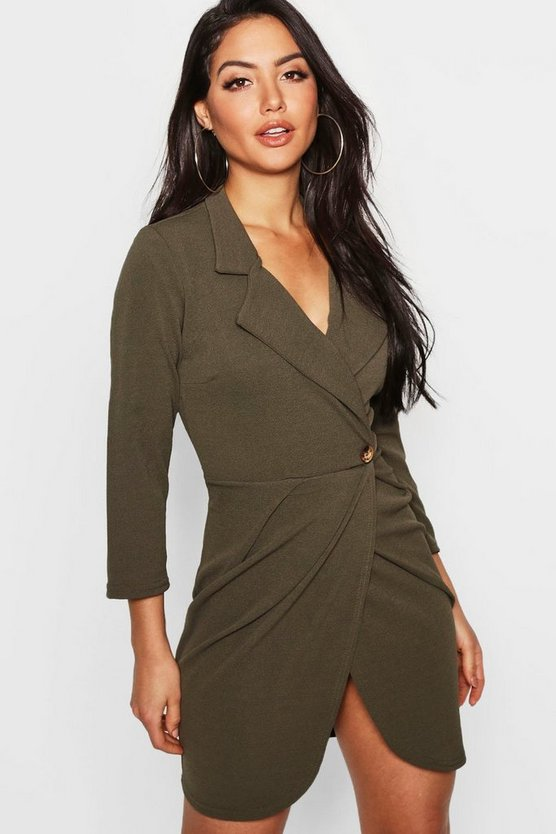 Womens Khaki Button Detail Pleated Blazer Dress