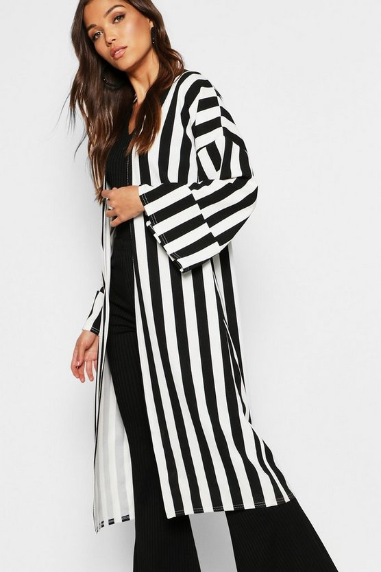Black Stripe Pleated Cuff Duster