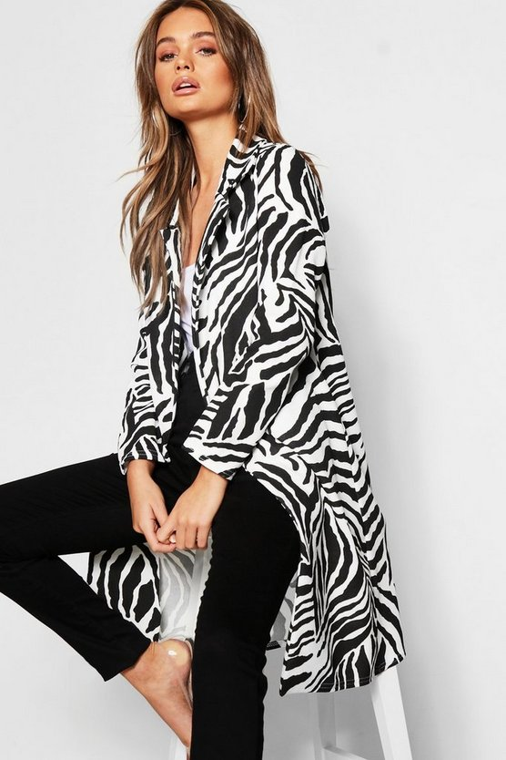 Womens White Zebra Double Collar Longline Duster