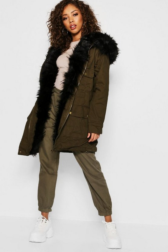 Womens Black Faux Fur Lined Parka