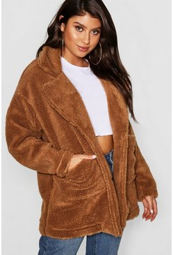Womens Mocha Teddy Faux Fur Coat