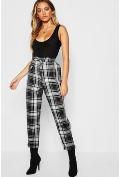 Womens Black High Waist Woven Tartan Drawstring Jogger