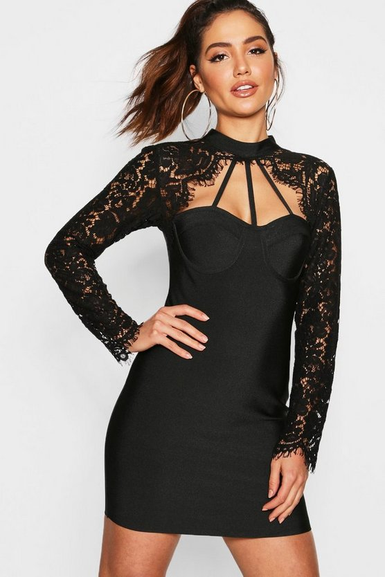 Lace Top High Neck Bandage Bodycon Dress