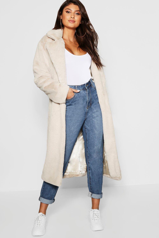 la meilleure attitude 64c19 5868e Long manteau en fausse fourrure avec ceinture | Boohoo