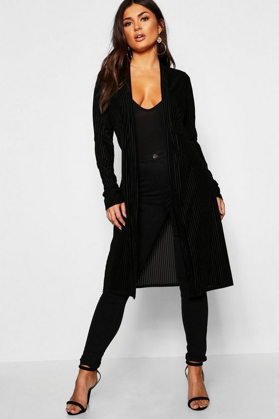 Womens Black Velvet Rib Belted Jacket