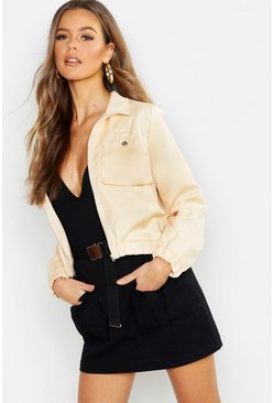 Womens Stone Pocket Detail Utility Jacket