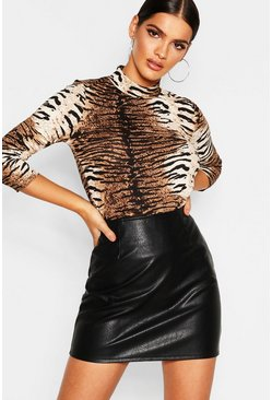 Womens Brown Animal Print High Neck Top