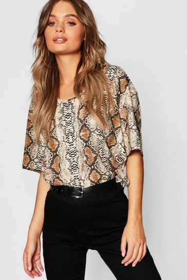 Womens Stone Oversized Snake Short Sleeve T-Shirt