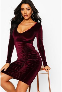Womens Berry Velvet Ruched Detail Midi Dress