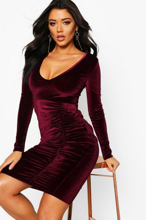 Velvet Ruched Detail Midi Dress
