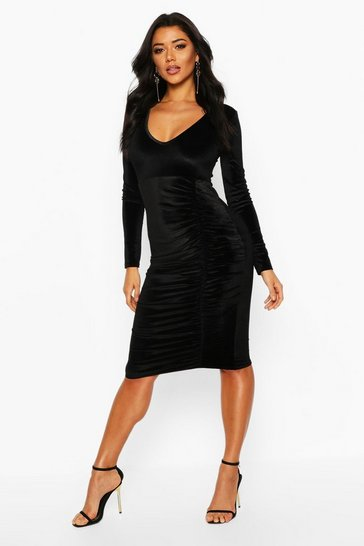 Black Velvet Ruched Detail Midi Dress