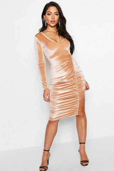 Womens Camel Velvet Ruched Detail Midi Dress