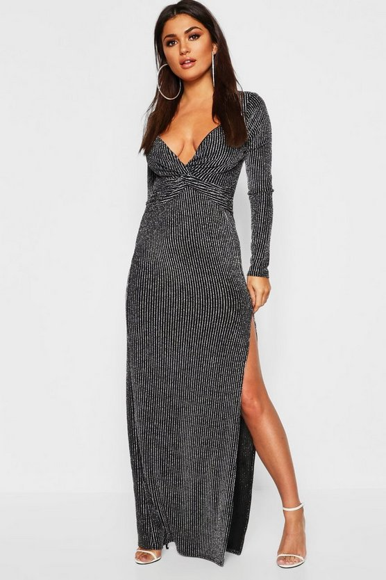 Metallic Stripe Knot Front Maxi Dress