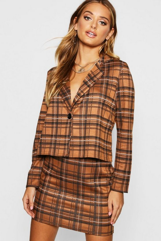 Camel Knitted Check Blazer And Skirt Set