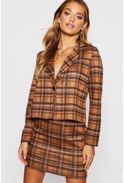 Womens Camel Knitted Check Blazer And Skirt Set