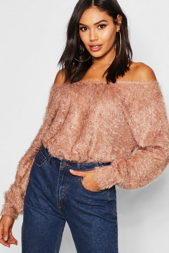 Fluffy Knit Off The Shoulder Oversized Jumper