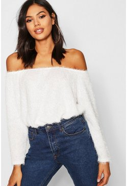 Womens Cream Fluffy Knit Off The Shoulder Oversized Sweater