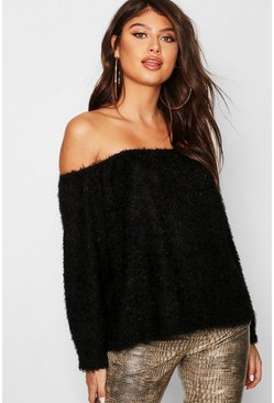 Womens Black Fluffy Knit Oversized V Neck Sweater