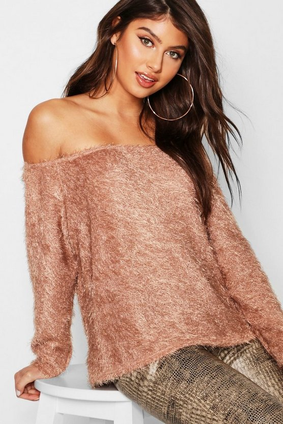 Fluffy Knit Oversized V Neck Jumper