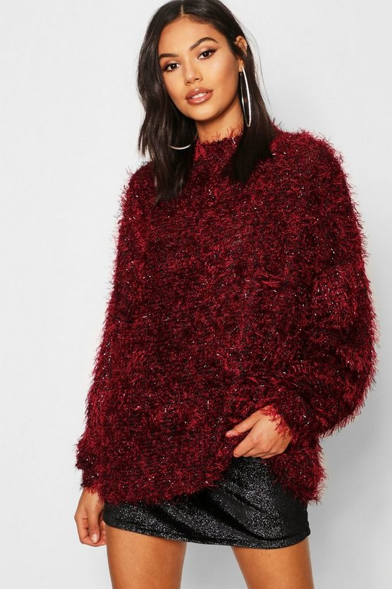 Oversized Boyfriend Fluffy Tinsel Knit Jumper