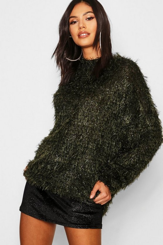 Womens Green Oversized Boyfriend Fluffy Tinsel Knit Jumper