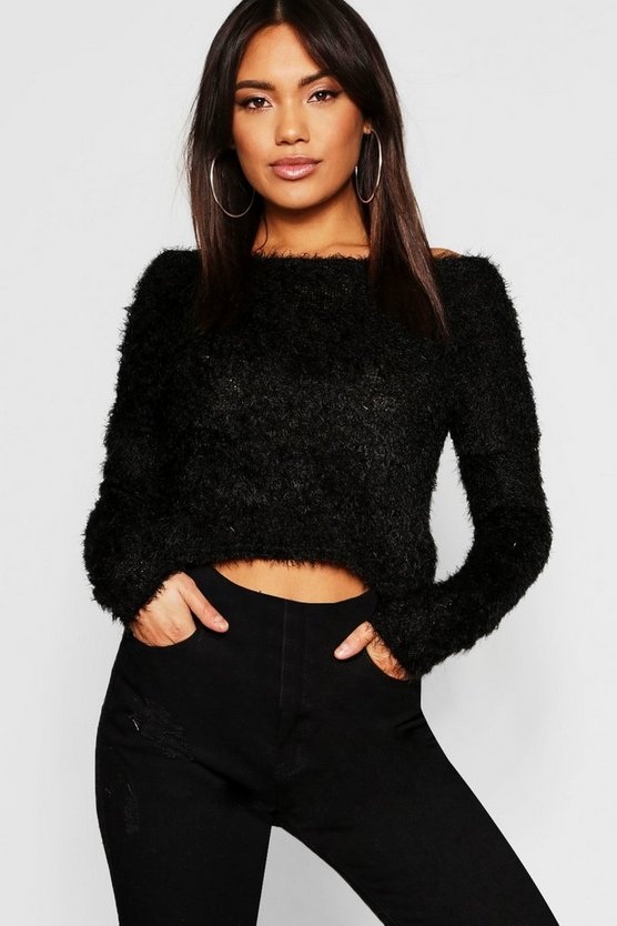 Womens Black Fluffy Knit Twist Back Crop Jumper