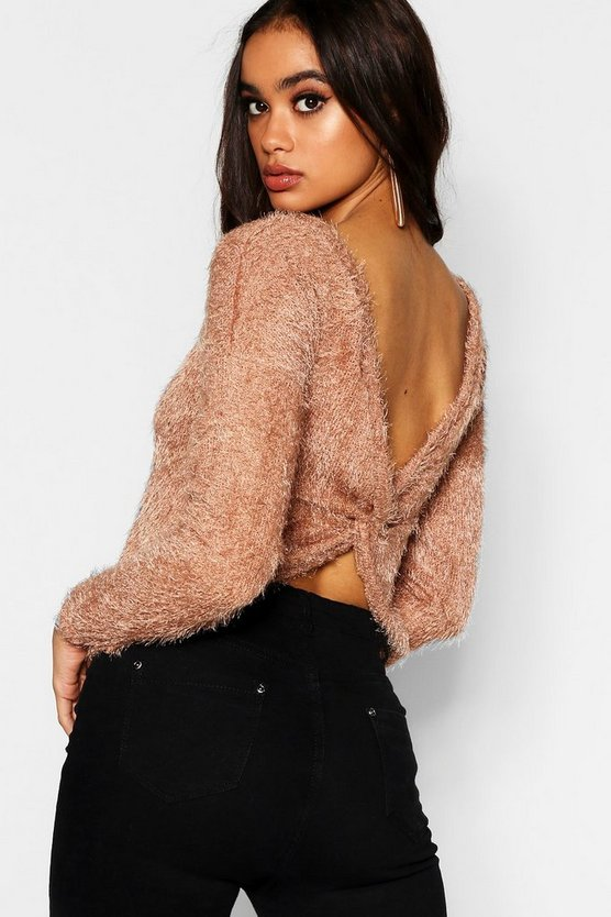 Fluffy Knit Twist Back Crop Jumper