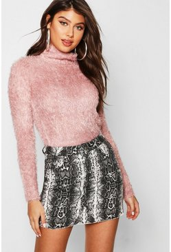 Womens Pink Fluffy Knit Roll Neck Sweater