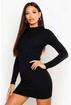 Womens Black High Neck Knitted Rib Mini Dress
