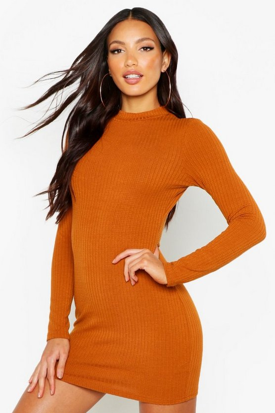 Womens Mustard High Neck Knitted Rib Mini Dress