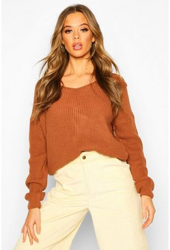 Womens Toffee Crop Twist Jumper