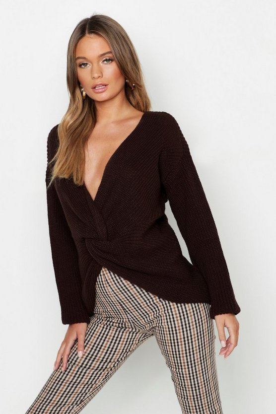 Womens Chocolate Longline Twist Front Jumper