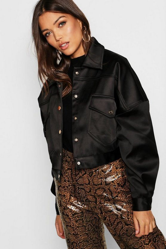 Womens Satin Trucker Jacket