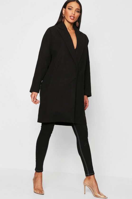 Womens Black Tailored Collared Wool Look Coat