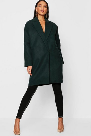 Womens Bottle green Tailored Collared Wool Look Coat