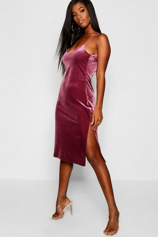 Velvet Strappy Back Midi Slip Dress