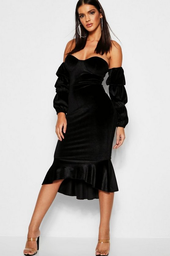 Velvet Off The Shoulder Fishtail Midi Dress