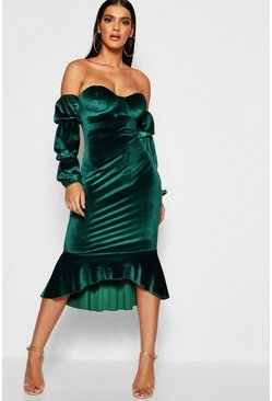 Womens Emerald Velvet Off The Shoulder Fishtail Midi Dress