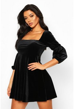 Black Velvet Double Puff Sleeve Skater Dress