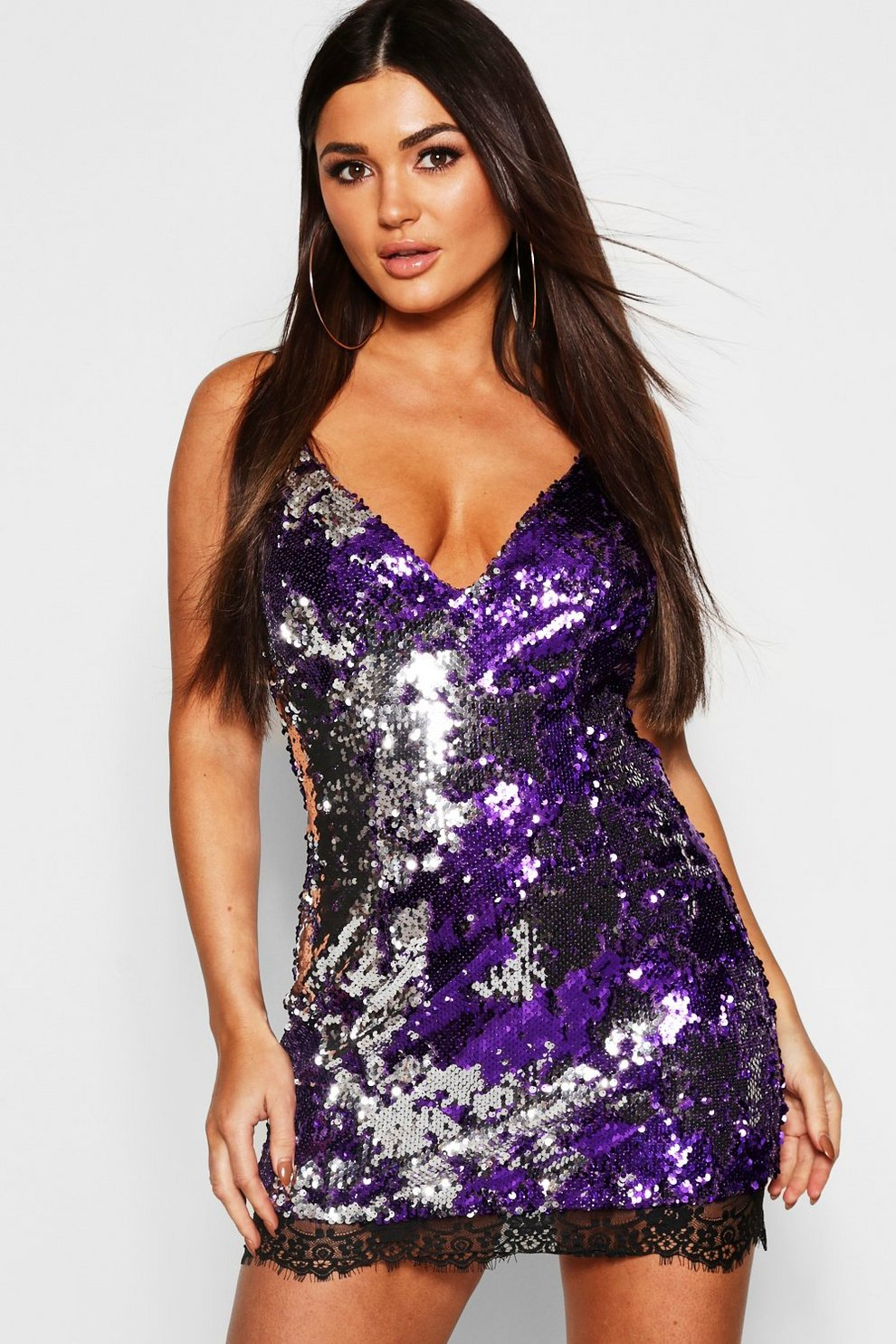 bdc58a8c Sequin Strappy Lace Trim Slip Dress | Boohoo