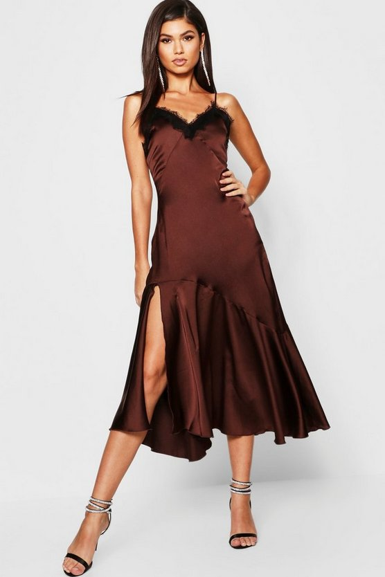 Womens Chocolate Satin Strappy Lace Trim Midaxi Dress