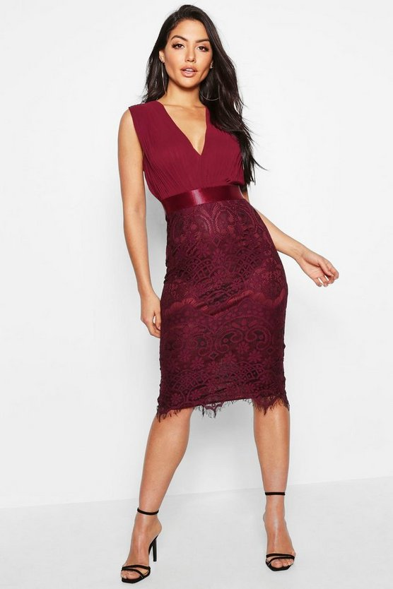 Womens Berry Chiffon & Lace Midi Dress