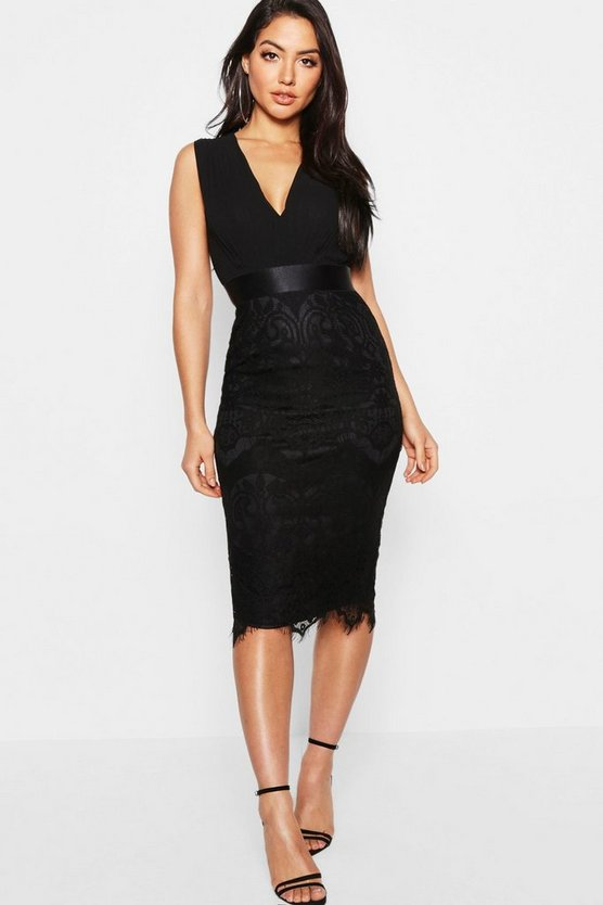 Womens Black Chiffon & Lace Midi Dress