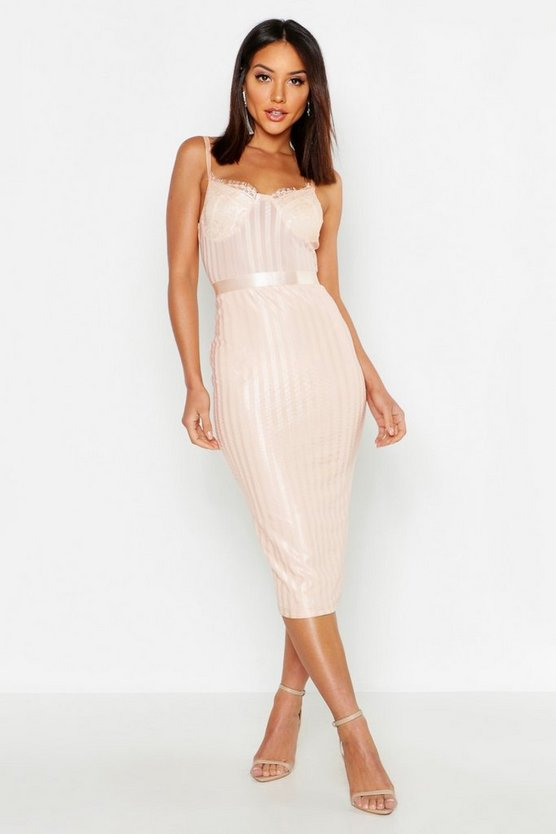 Bustier Eyelash Lace & Stripe Midi Dress