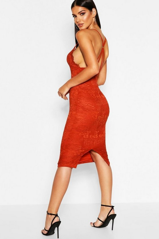 Womens Terracotta Delicate Lace Strappy Back Midi Dress