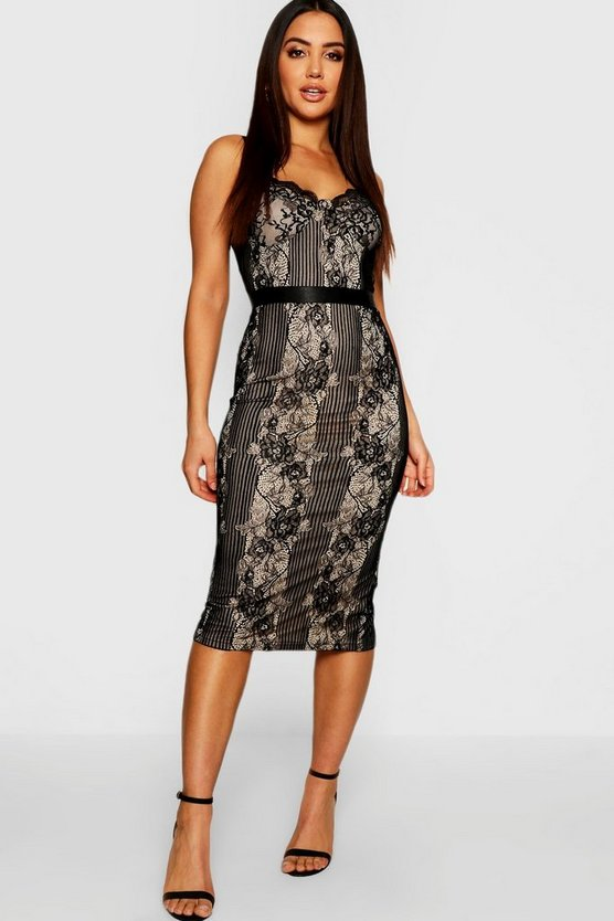 Womens Black Eyelash Lace Detail Midi Dress